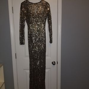 Black and gold sequins long dress